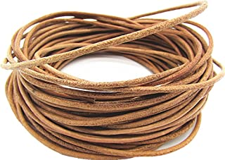 Genuine Leather Round Cord For Bracelet Necklace Beading Jewelry Making 10Meters (Natural)