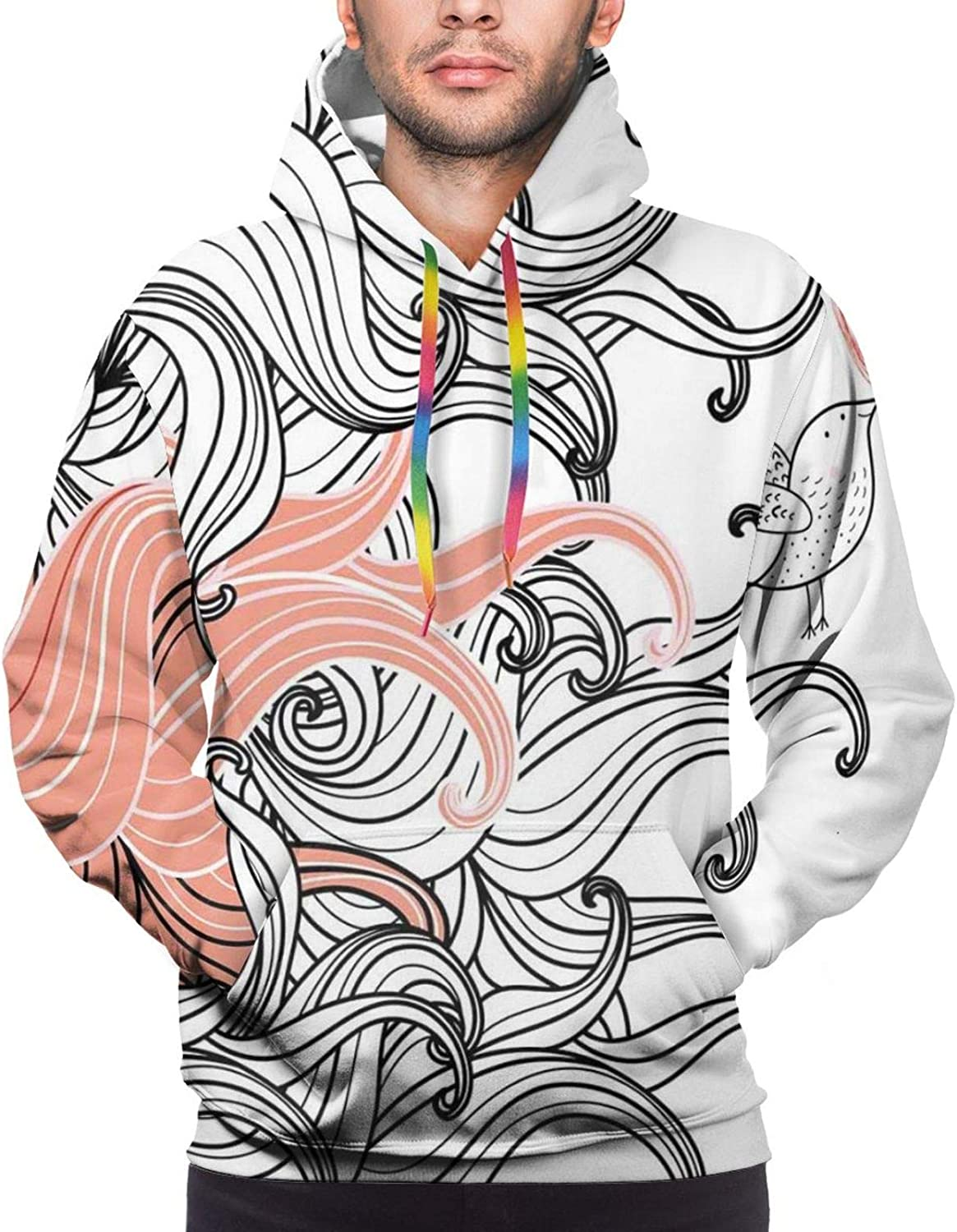 Men's Hoodies Sweatshirts,Graphic Stylized Spring Flowers with Stems in Blossom Print On Dotted Background
