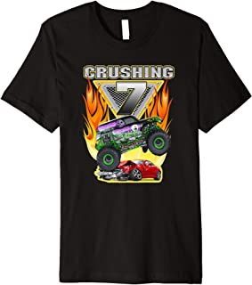 Crushing being 7 Monster Truck Seven Years Old 7th Birthday Premium T-Shirt