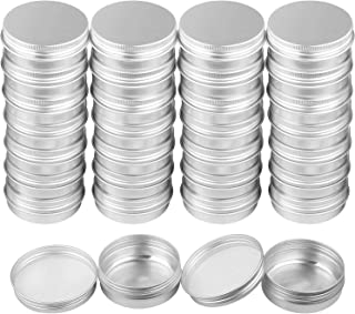 30 Pack Aluminum Round Lip Balm Tins Containers 1 Oz. Silver Tin Cans With Screw Thread Lid for Crafts, Lip Balm, Candles, Store Spices, Tea, Candies (30ml)