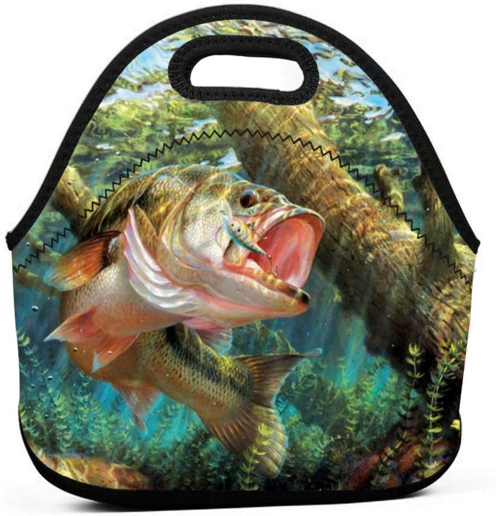 Fashion.Reborn LunchBags Insulated Reusable Lunch Bag Bass Fish Cool Lunch Bag Thermal Cooler Lunch Pouch with Portable Carrying
