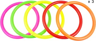 Fushing 15Pcs Multicolor Plastic Toss Rings for Kids Ring Toss Game,  Speed and Agility Training Games, Carnival Garden Backyard Outdoor Games, Bridal Shower Game, Game Booth