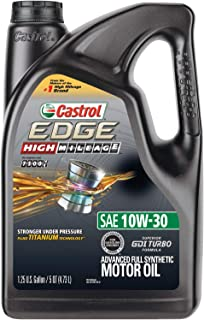Castrol 03129C EDGE High Mileage 10W-30 Advanced Full Synthetic Motor Oil, Black, 5 quart