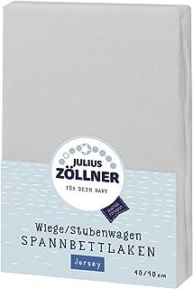 Julius Zöllner Jersey Spannbettlaken für Wiegen 90x40cm und Stubenwagen, 100% Baumwolle, STANDARD 100 by OEKO-TEX, hellgrau
