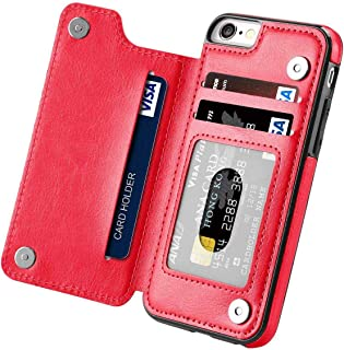 iPhone 6S Plus Wallet Case,iPhone 6 Plus Slim Fit Wallet Case for Women/Men,Aprilday Premium iPhone 6 Plus Leather Purse Case Durable Shockproof Cover with Wallet&Card Holder&Kickstand -5.5in Red