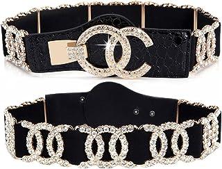 أحزمة حريمي قابلة للتمدد فاخرة مع حزام خصر أسود بحجر الراين من RASAMIA