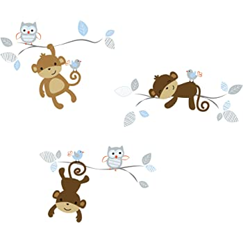 Giant Jungle Monkeys /& Palm Tree Decorative Peel and Stick Wall Sticker Decals CherryCreek Decals CC1007DC