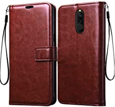 Frazil Vintage Leather Flip Cover Case for Xiaomi Mi Redmi 8 | Inner TPU | Foldable Stand | Wallet Card Slots - Walnut Brown
