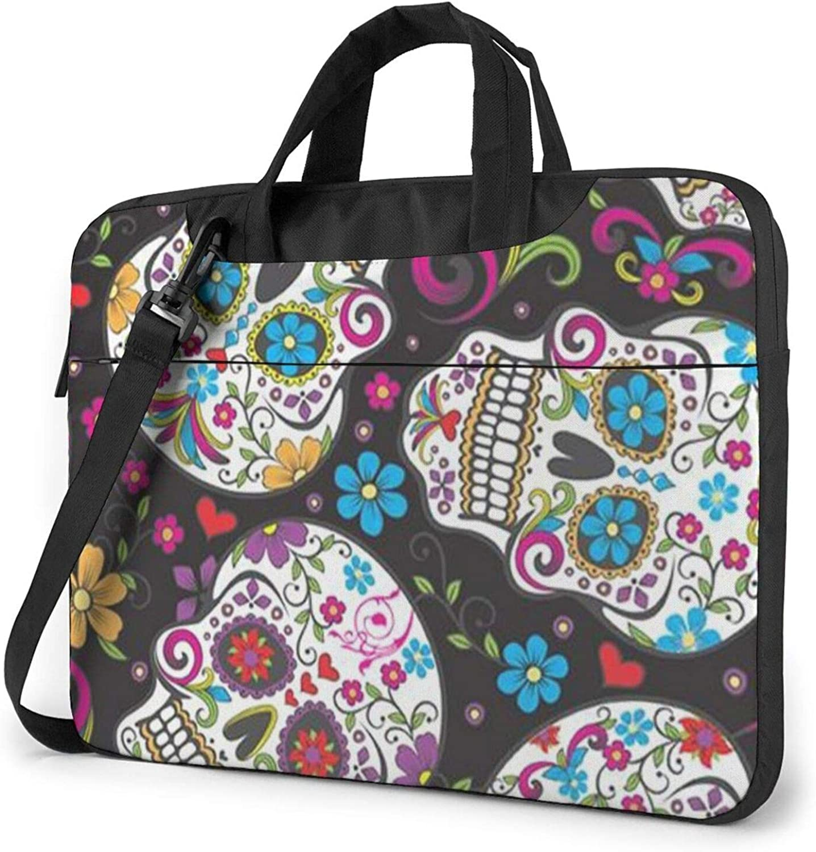 Flower Sugar Skull Laptop Challenge the lowest price Nashville-Davidson Mall Shoulder Bag Waterproof Messenger