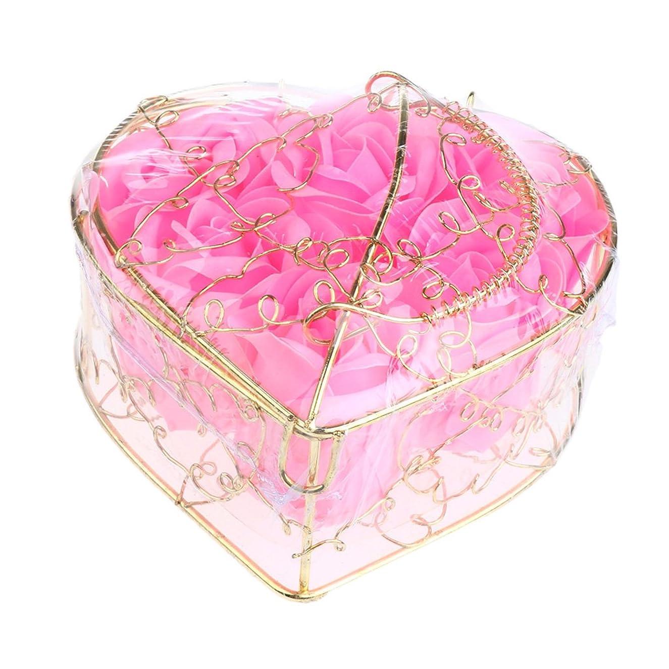 ストリップ蘇生する残るIPOTCH 6個 ソープフラワー 石鹸花 造花 バラ フラワー ギフトボックス 誕生日 母の日 記念日 先生の日 プレゼント 全5仕様選べる - ピンク