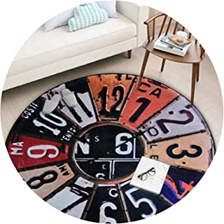 Nordic Round Carpet Vintage Wall Clock Living Room Bedroom Bathroom Christmas Decoration Rug Anti-Slip Outdoor Crawling Play Mat,Round Carpet1,Diameter 120CM