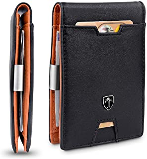 TRAVANDO Mens Wallet Money Clip PHOENIX Front Pocket Slim RFID Bifold Gifts (Smooth, Black & Orange)