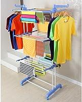 حاملة تجفيف الملابس حجم كامل عالية التحمل بوجهين وثلاث طبقات، حمالة الغسيل ذات الرفوف بالون الأزرق