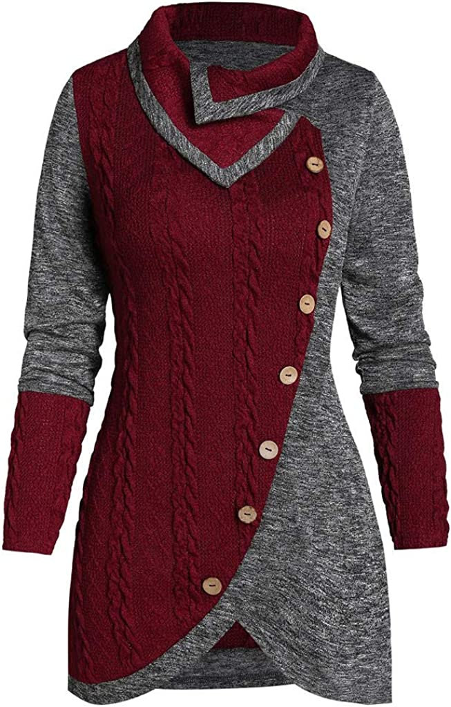 FABIURT Women's Plus Size Asymmetric Dress Casual Color Botton Patchwork Long Sleeve Knitted Pullover Sweater Dresses