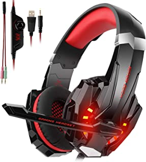 Gaming Headset fit PS4, Xbox One, PC, CASFANSTA Playstation 4 Headphones Have Noise Cancelling Mic, Cool LED Light (red)