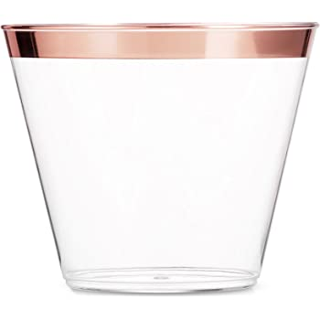 100 Rose Gold Plastic Cups 9 Oz Clear Plastic Cups Old Fashioned Tumblers Rose Gold Rimmed Cups Fancy Disposable Wedding Cups Elegant Party Cups with Rose Gold Rim