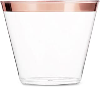 100 Rose Gold Plastic Cups 9 Oz Clear Plastic Cups Old Fashioned Tumblers Rose Gold..