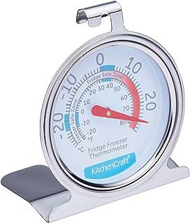 KitchenCraft Frys-/kylskåpstermometer med minsta och högsta temperaturanvisningar, rostfritt stål