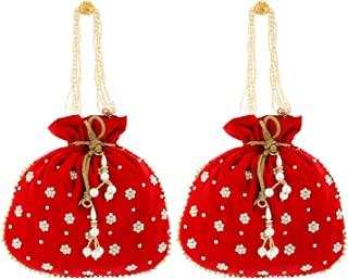 Heart Home Ethnic Clutch Silk 2 Pieces Potli Batwa Pouch Bag with Beadwork Gift for Women (Red) - CTHH13644
