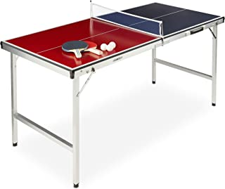 Relaxdays Unisex's Foldable Tennis Table, Portable, Net, 2 Bats, 3 Balls, Aluminium: 67.5 x 151 x 67.5 cm, red-Blue, Pack of 1, 10028919