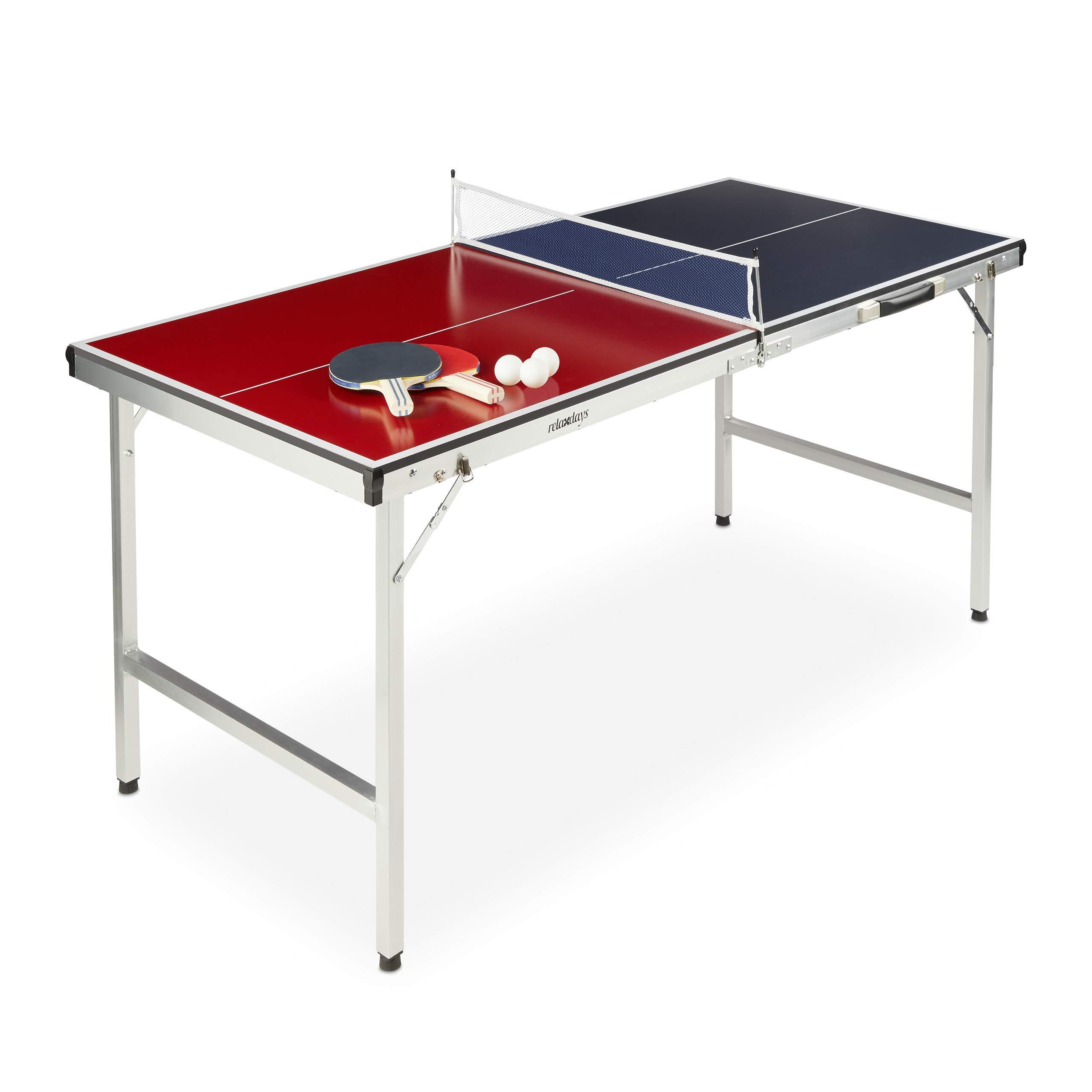 Relaxdays Mesa Ping Pong Plegable, Set con 2 Palas, Red y 3 Pelotas, DM y Aluminio, 67,5 x 151 x 67,5 cm, Azul y Rojo: Amazon.es: Deportes y aire libre