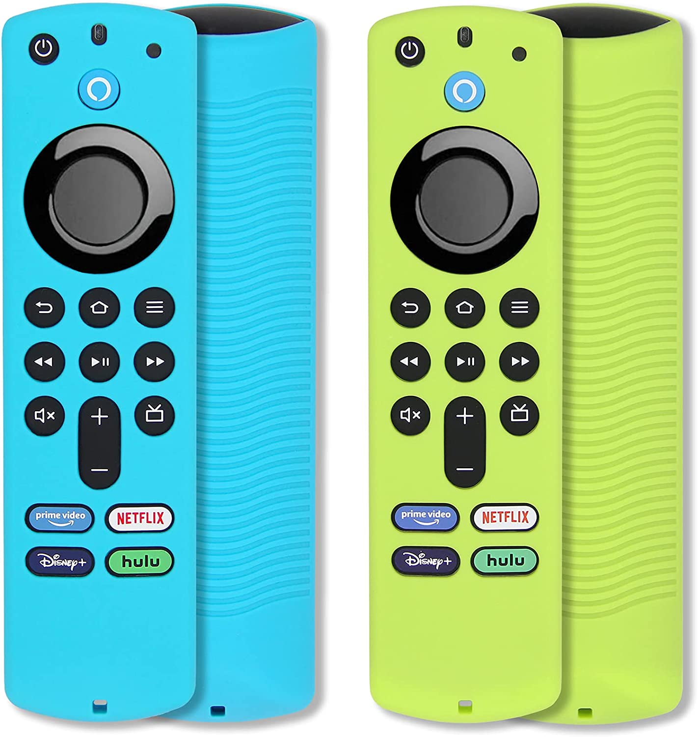 [2 Pack] Pinowu Firestick Remote Cover Case Compatible with Firetv Stick (3rd Gen) Voice Remote, Anti Slip Shockproof Silicone Sleeve with Wrist Strap for TV Stick 2021 (Green & Turquoise)
