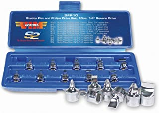 """Durston Manufacturing Co SFP10 1/4"""" Square Drive Stubby Flat and Phillips Drive Set - 10 Piece"""