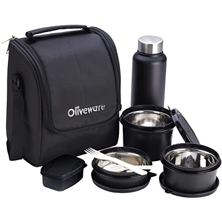 Oliveware Teso Lunch Box with Bottle - Black | 3 Stainless Steel Containers and Pickle Box and Assorted Steel Bottle | Insulated Fabric Bag | Leak Proof Microwave Safe | Full Meal and Easy to Carry