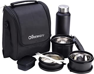 Oliveware Teso Lunch Box with Bottle - Black | 3 Stainless Steel Containers and Pickle Box and Assorted Steel Bottle | Ins...