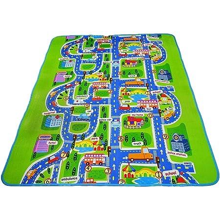 luwu store tapis mousse epais tapis de jeu jouet epais tapis d eveil pour bebe enfant circuit de voitures dans la ville 130x160x0 5cm