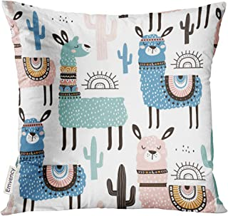 UPOOS Throw Pillow Cover Alpaca with Llama Cactus and Creative Childish Great Cute Lama Decorative Pillow Case Home Decor Square 20x20 Inches Pillowcase