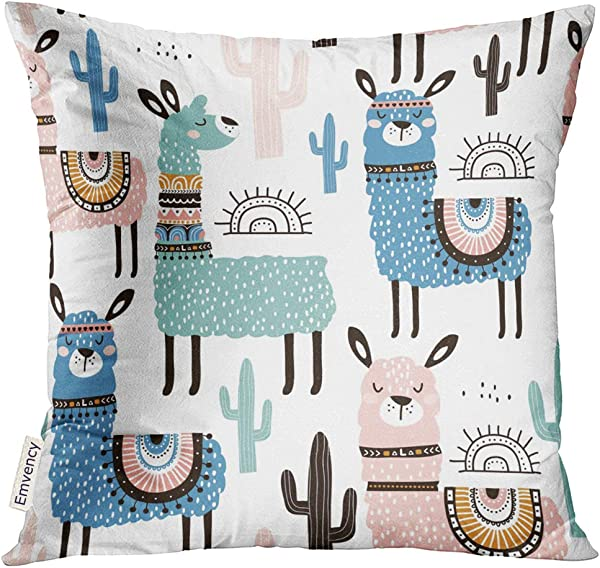 UPOOS Throw Pillow Cover Alpaca With Llama Cactus And Creative Childish Great Cute Lama Decorative Pillow Case Home Decor Square 16x16 Inches Pillowcase