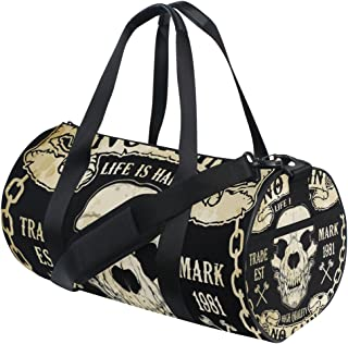 MALPLENA Feather Design Drum gym duffel bag women Travel Bag