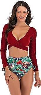 Wellwits Women's Long Sleeves Wrap Push up High Waist Print Bikini Swimsuit