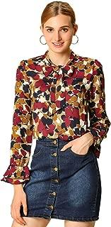 Allegra K Women's Tie V Neck Blouse Long Trumpet Sleeve Floral Shirt