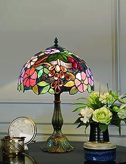 12 pouces vintage pastorale fleurs magnifiques vitrail style lampe de table lampe de chambre lampe de chevet