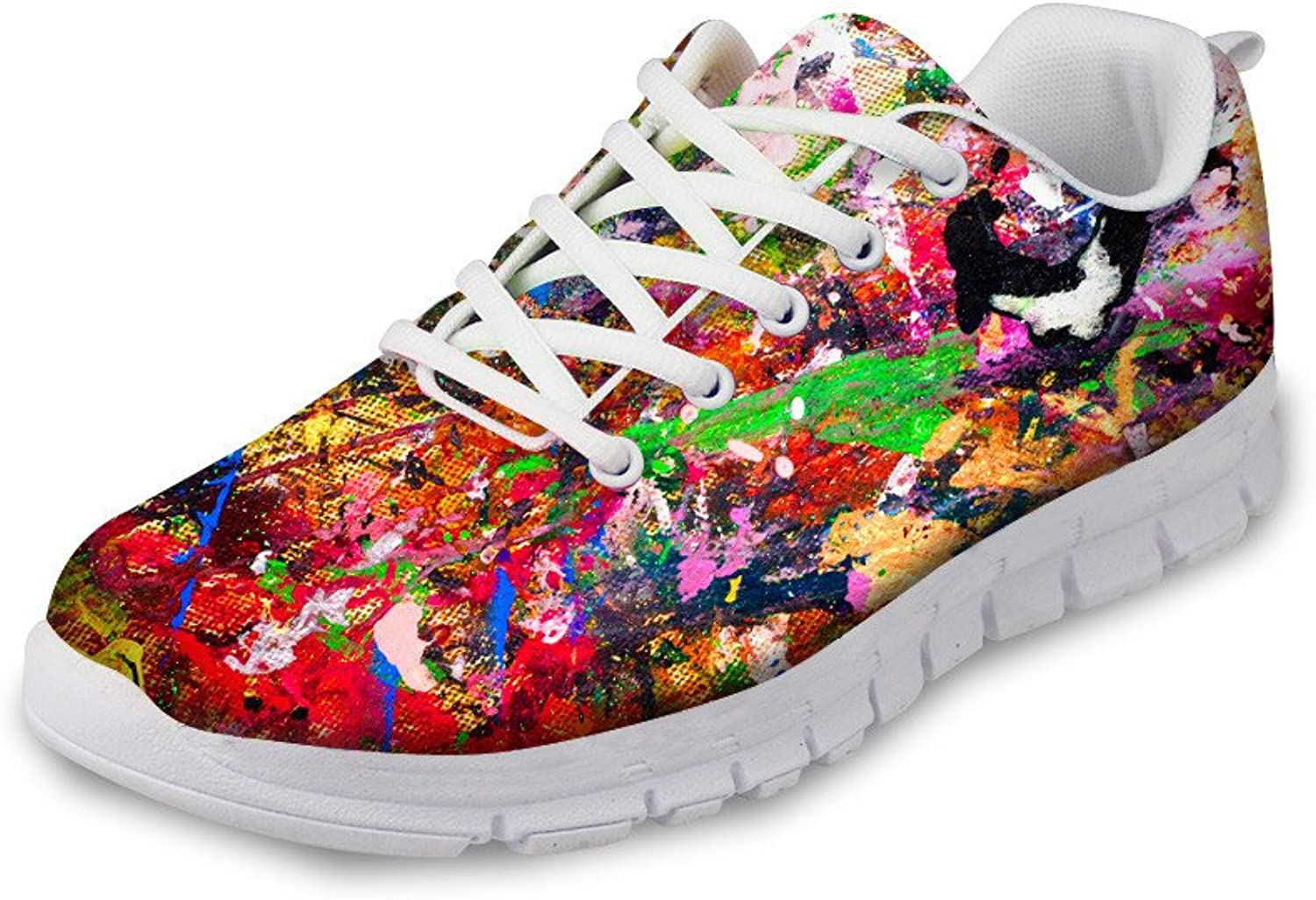 DeePrint Breathable Lace up Trainer Athletic Breathable Sport shoes Girls Athletic Sneakers