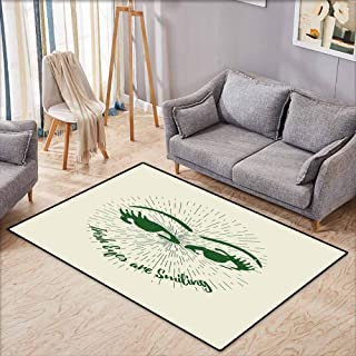 Living Room Area Rug,Eyelash,Hand Drawn Abstract Eye Pattern with Lined Background and Irish Quote Design,Anti-Slip Doormat Footpad Machine Washable,3'3