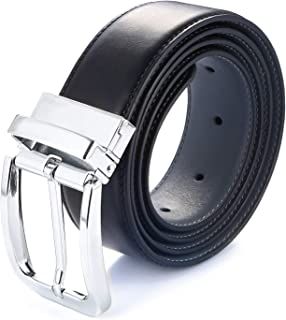 Gelante Men's Reversible Leather Belt Rotated Buckle Various Size