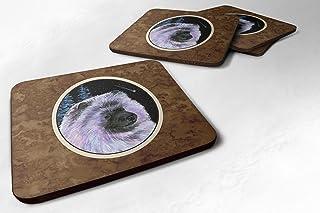 "Caroline's Treasures SS8412FC Starry Night Keeshond Foam Coasters Set of 4 (Set of 4), 3.5"" H x 3.5"" W, Multicolor"