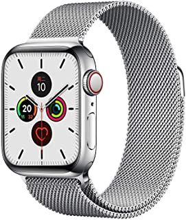 Compatible with Apple Watch Band 42mm 44mm, Adjustable Stainless Steel Metal Mesh Loop Bracelet Straps Wristbands for iWat...