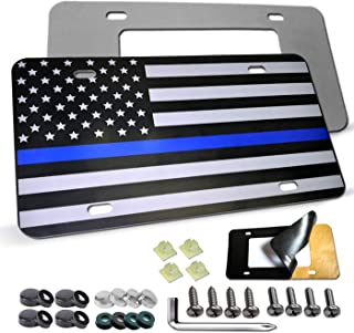 American USA Flag License Plate - Thin Blue Line Matte/Gloss Black Aluminum Composite Front Plate Heavy Duty Tactical Patriot Car Auto Tag Decoration with Stainless Steel Screws,Anti-Rattle Foam Pad