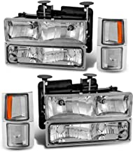 Headlight Assembly Kit for Chevy C/K Series 1500 2500 3500 / Chevy Tahoe/Chevy Suburban/Chevy Silverado Crystal Headlamp w/Corner & Bumper Chrome Housing with Clear Lens