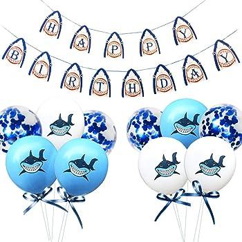 Supergift Shark Birthday Decorations