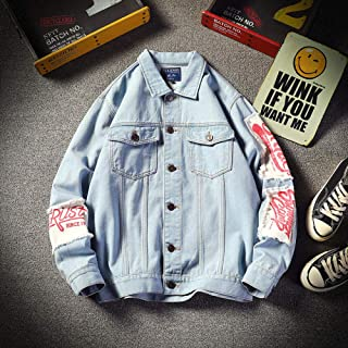 Spring youth plus size denim jacket men's tooling loose jacket top