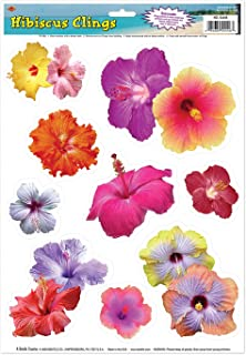 Hibiscus Clings Party Accessory (1 count) (9/Sh)