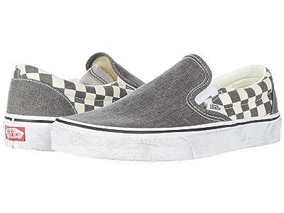 Vans Classic Slip-Ontm ((Washed) Asphalt/True White) Skate Shoes