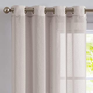 Topick Linen Textured Sheer Curtains for Bedroom Dimensional Lines on Sheer Fabric Grommet Plastic Print Striped Design Beige Windows Curtain Drapes for Living Room 2 Panels 63 Inch