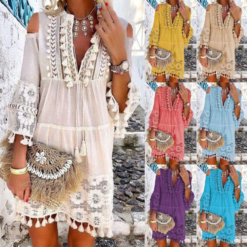 ORANDESIGNE Damen Kleider Strand Elegant Casual A-Linie Kleid Langarm Sommerkleider Boho V-Ausschnitt Quaste Tunika Mini Kleider B Violett