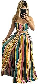 Womens 2pcs Stripe Wrapped Crop Top + Split Long Skirt Set Party Club Maxi Dress